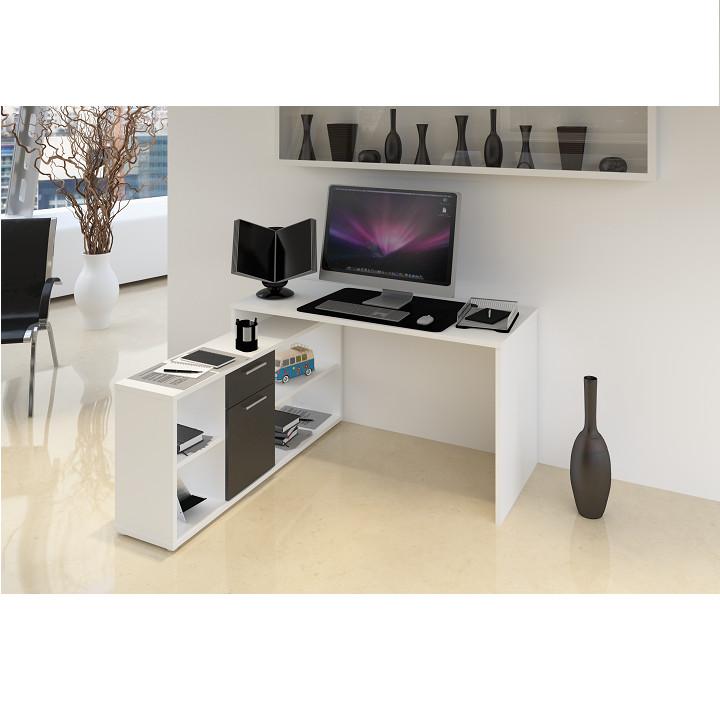 Tempo Kondela PC stůl NOE NEW - bílá / černá + kupón KONDELA10 na okamžitou slevu 3% (kupón uplatníte v košíku)