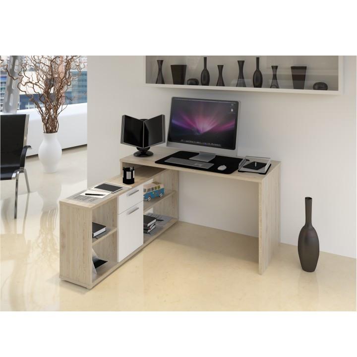 Tempo Kondela PC stůl NOE NEW - dub san remo / bílá + kupón KONDELA10 na okamžitou slevu 3% (kupón uplatníte v košíku)