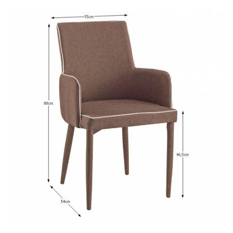 Židle, světlehnědá s bílým lemem, SARITA