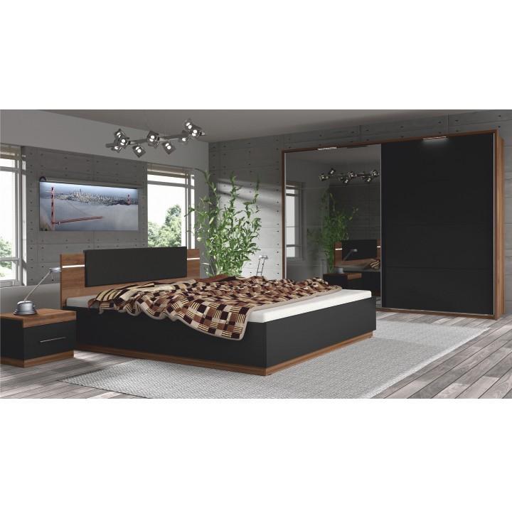 Tempo Kondela Ložnicový komplet Degas (skříň + postel + 2x noční stolek) - ořech / černá + kupón KONDELA10 na okamžitou slevu 3% (kupón uplatníte v košíku)