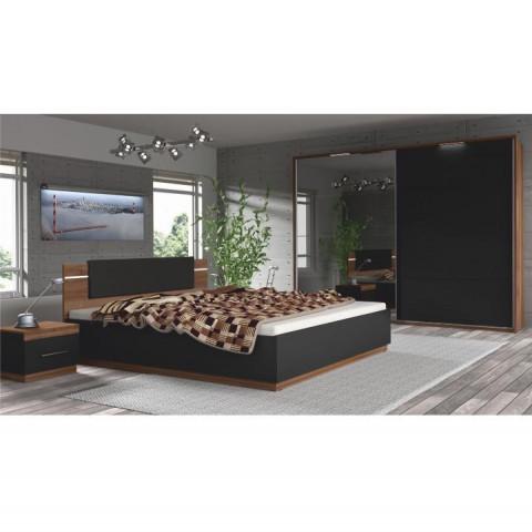Ložnicový komplet Degas (skříň + postel + 2x noční stolek) - ořech / černá