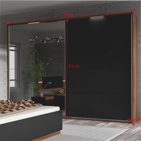 Ložnicový komplet (skříň + postel + 2x noční stolek), ořech / černá, DEGAS
