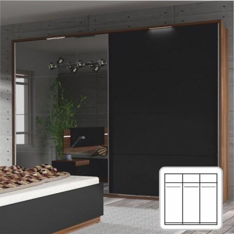Skříň s posuvnými dveřmi a zrcadlem, ořech / černá, DEGAS