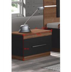 Noční stolek, DTD laminovaná, ořech / černá, DEGAS