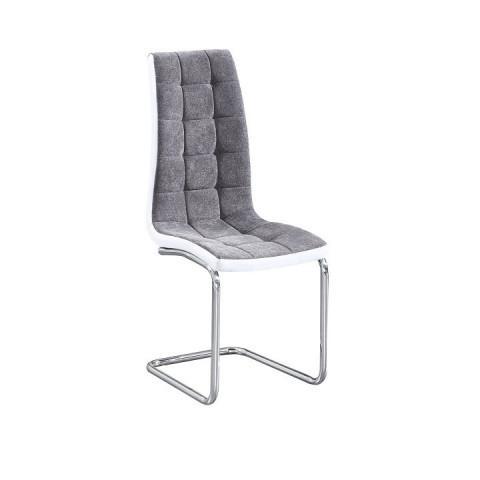Jídelní židle SALOMA - světlešedá látka / ekokůže bílá / chrom