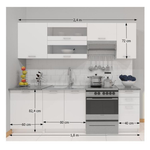 Kuchyňská linka FABIANA 2,4 m - bílá č.2