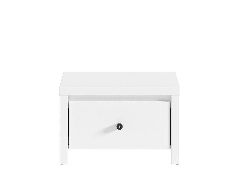 BRW Noční stolek Karet KOM1S - úchyt černý Bílá