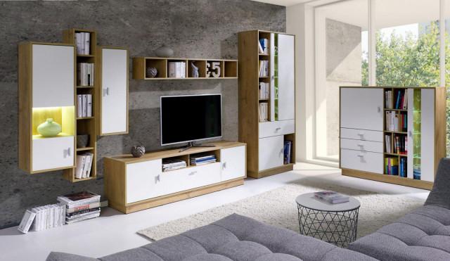 Obývací stěna Parker 1 - dub lefkas/bílá