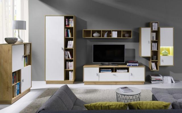 Obývací stěna Parker 3 - dub lefkas/bílá