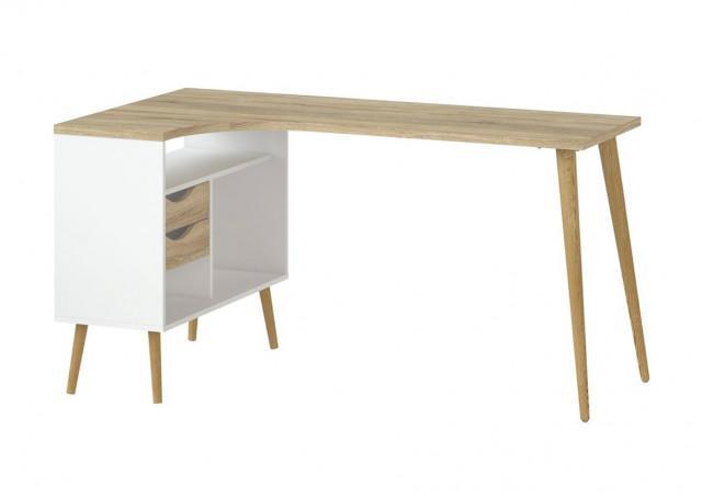 Rohový psací stůl Retro 450 - bílá/dub