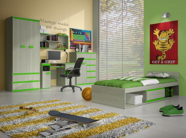 Dětský pokoj Adrian sestava A - jasan/limetka