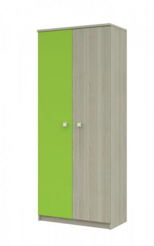 Skříň Merkur 06 2d - jasan/zelená