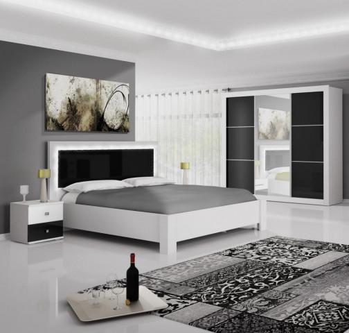 Ložnice Regina - bílá/černý lesk