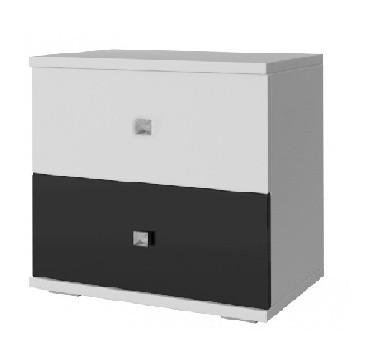 Falco Noční stolek Regina 23 - bílá/černý lesk