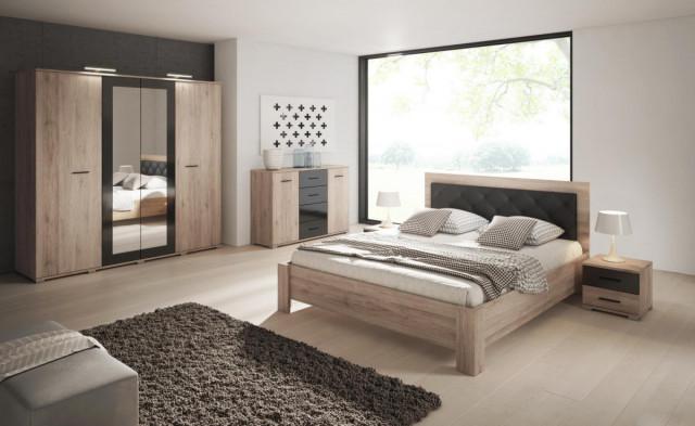 Ložnice Neapol San Remo - sand/černý lesk