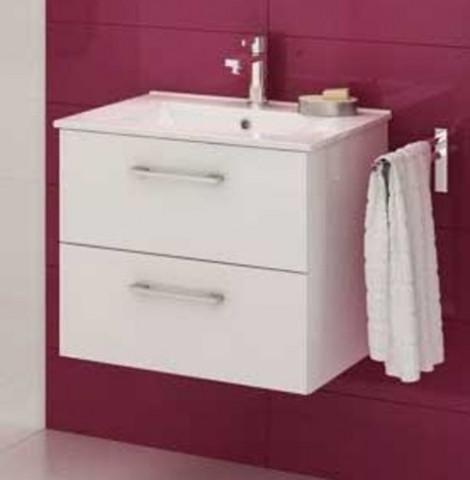 Koupelnová skříňka s umyvadlem Metro D80 - bílý lesk