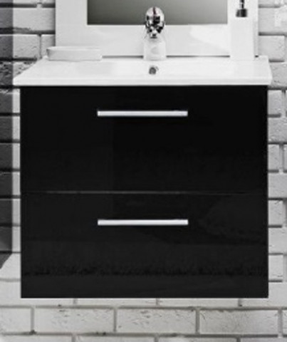 Koupelnová skříňka s umyvadlem Metro D80 - černý lesk