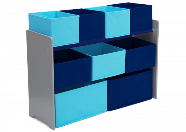 Organizér na hračky šedo-modrý