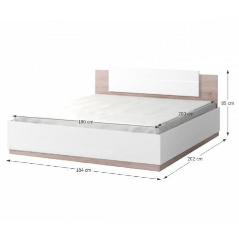 Postel s LED osvětlením, 180x200, dub san remo / bílá, MIRAN NEW