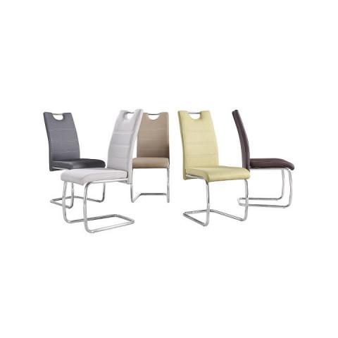 Jídelní židle, hnědá ekokůže, tmavé šití / chrom, ABIRA NEW