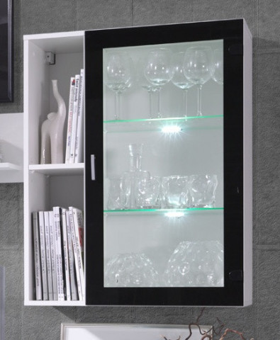 Závěsná vitrína Ombre R3 - bílá/černý lesk