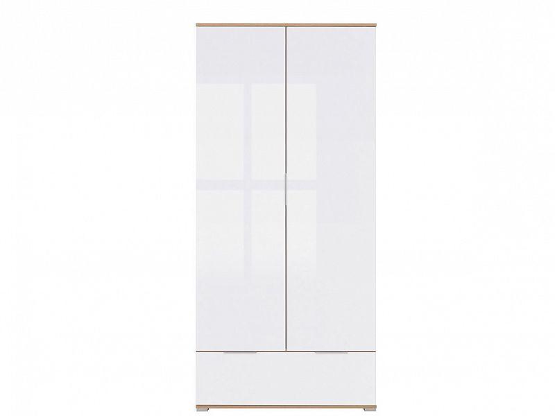 Šatní skříň Zele SZF2D1S - dub wotan/bílý lesk