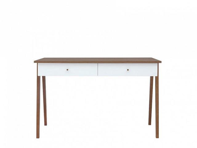 Psací stůl Heda BIU2S - Bílá/modřín sibiu zlatý/bílý lesk č.1