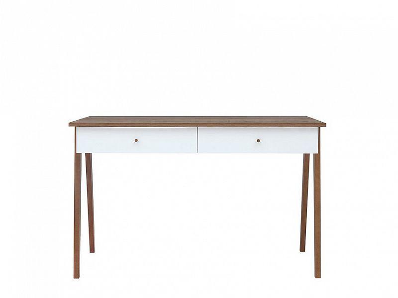 Psací stůl Heda BIU2S - Bílá/modřín sibiu zlatý/bílý lesk