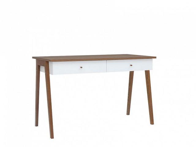 Psací stůl Heda BIU2S - Bílá/modřín sibiu zlatý/bílý lesk č.2