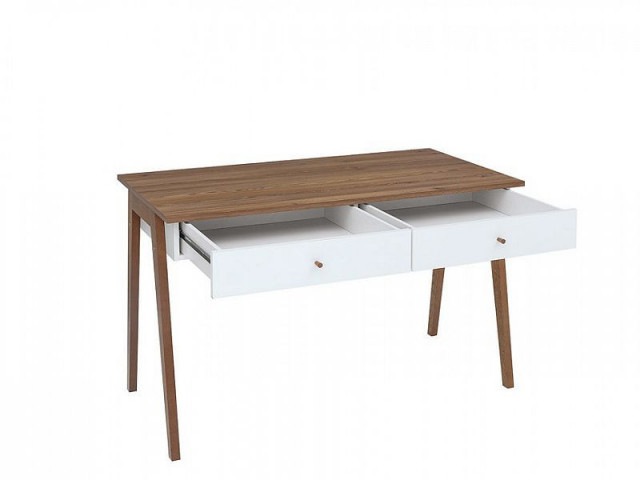 Psací stůl Heda BIU2S - Bílá/modřín sibiu zlatý/bílý lesk č.3