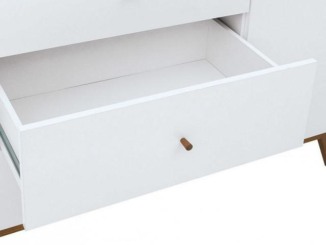 Komoda Heda KOM2D3S - Bílá/modřín sibiu zlatý/bílý lesk č.4