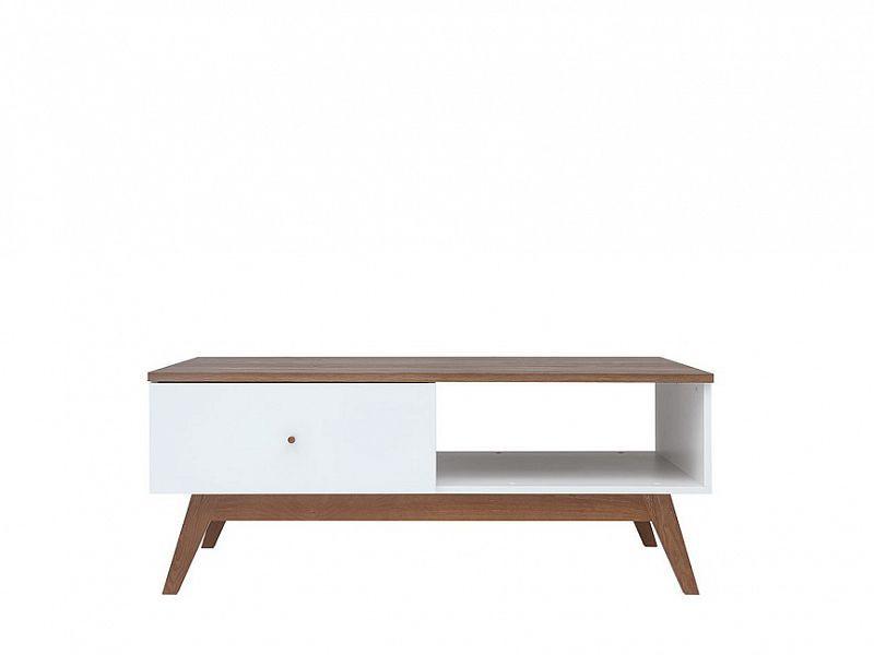 Konferenční stolek Heda LAW1S - Bílá/modřín sibiu zlatý/bílý lesk