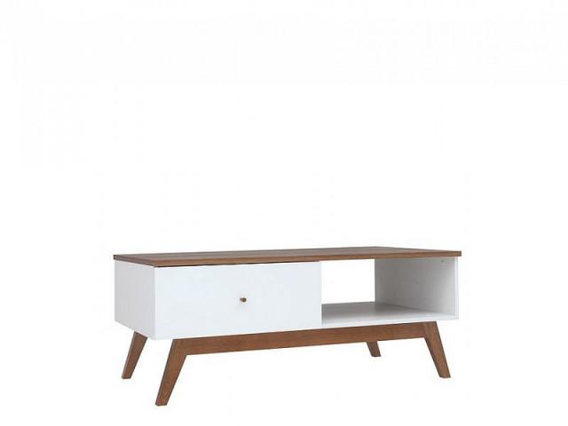 Konferenční stolek Heda LAW1S - Bílá/modřín sibiu zlatý/bílý lesk č.2