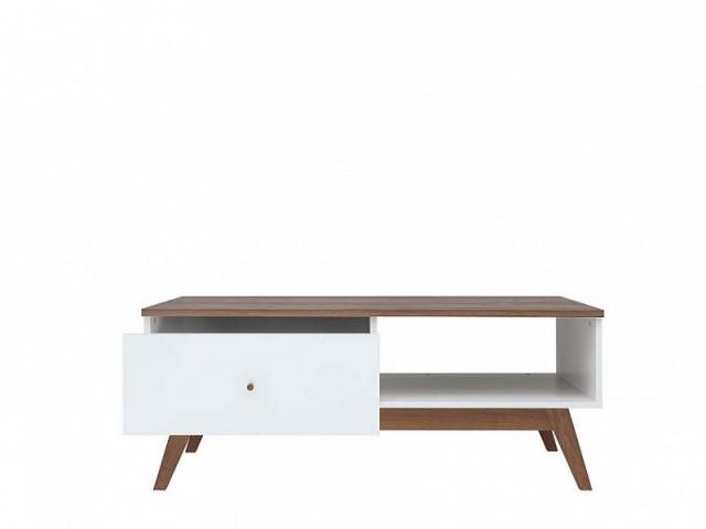 Konferenční stolek Heda LAW1S - Bílá/modřín sibiu zlatý/bílý lesk č.3
