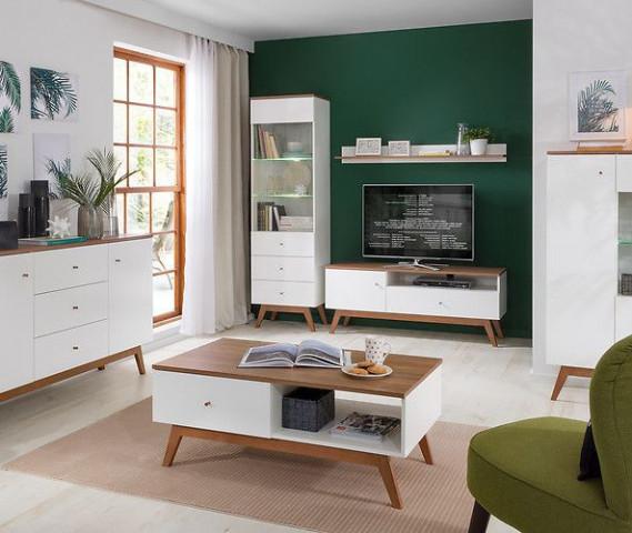 Televizní stolek Heda RTV1D1S - Bílá/modřín sibiu zlatý/bílý lesk č.8