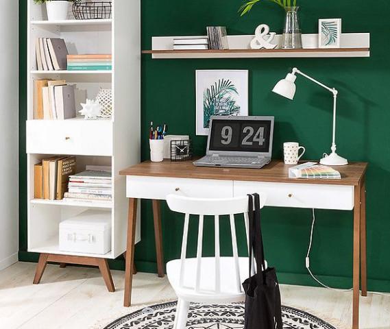 Televizní stolek Heda RTV1D1S - Bílá/modřín sibiu zlatý/bílý lesk č.7