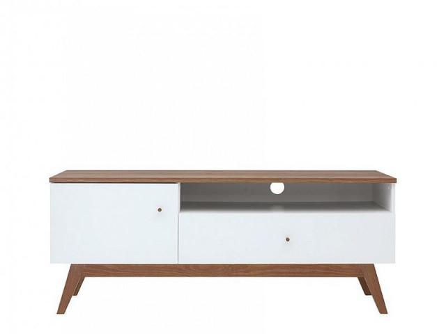 Televizní stolek Heda RTV1D1S - Bílá/modřín sibiu zlatý/bílý lesk č.1