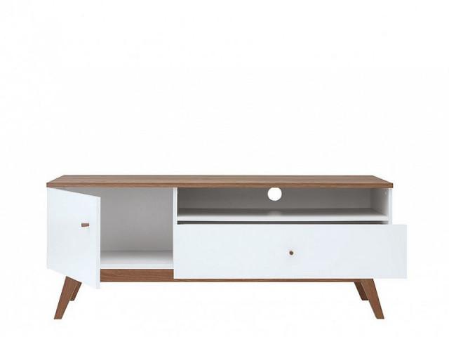 Televizní stolek Heda RTV1D1S - Bílá/modřín sibiu zlatý/bílý lesk č.2