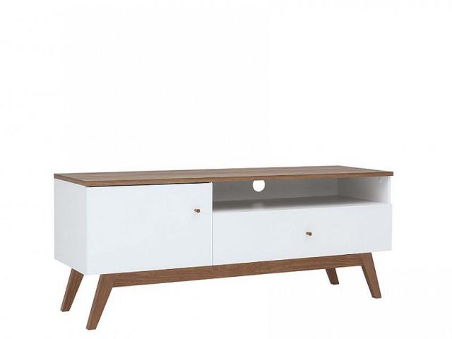 Televizní stolek Heda RTV1D1S - Bílá/modřín sibiu zlatý/bílý lesk č.3