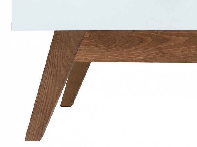 Televizní stolek Heda RTV1D1S - Bílá/modřín sibiu zlatý/bílý lesk č.4