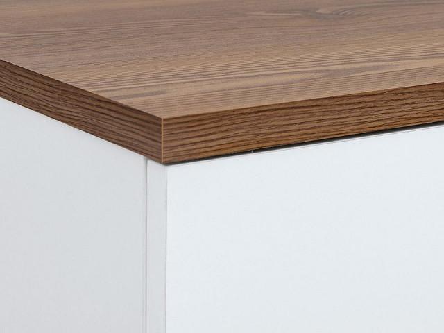 Televizní stolek Heda RTV1D1S - Bílá/modřín sibiu zlatý/bílý lesk č.5