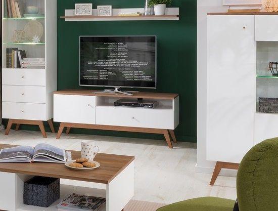Televizní stolek Heda RTV1D1S - Bílá/modřín sibiu zlatý/bílý lesk č.9