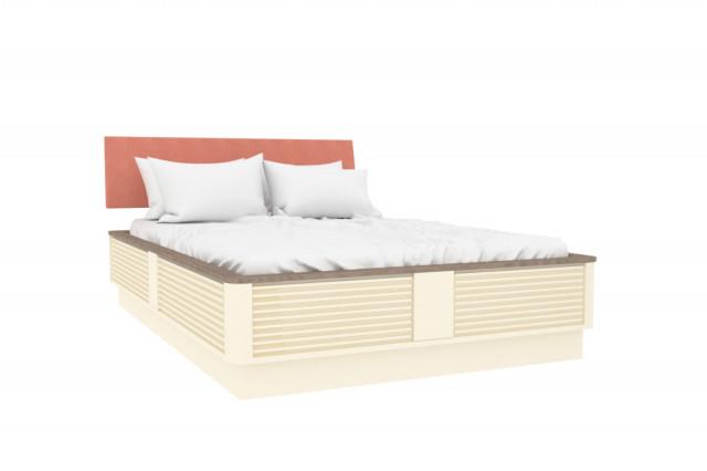 Dětská postel Calypso 120x190 cm měkké čelo - štichlak/sonoma H tmavá