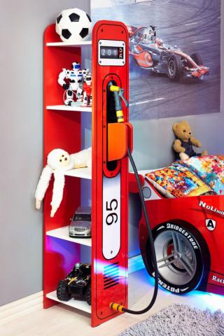 """Regál do dětského pokoje Formula - červená, bíla, """"Rock"""""""