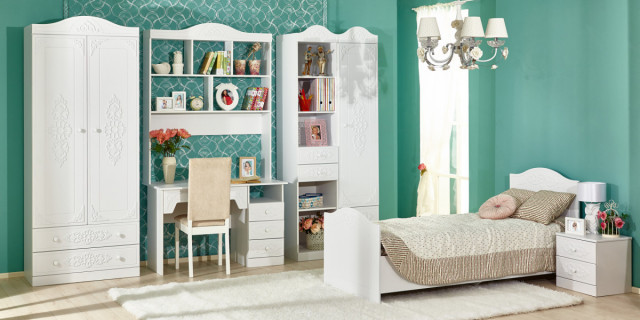 Dětský pokoj, Ariel, komplet, bílá - bíla