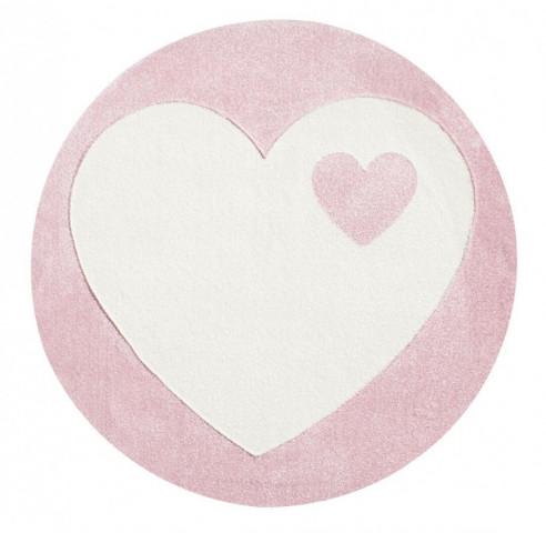 Dětský kulatý koberec srdíčko bílo - růžový