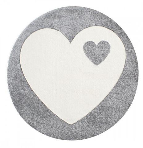 Dětský kulatý koberec srdíčko stříbrnošedý - bílý
