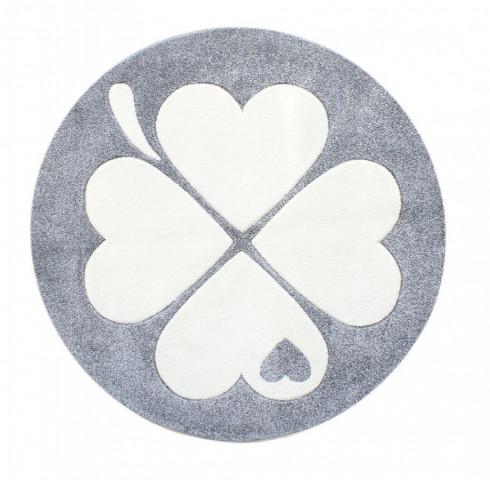 Dětský kulatý koberec čtyřlístek stříbrnošedý - bílý