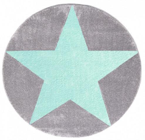 Dětský kulatý koberec STARS stříbrnošedý/ mátový