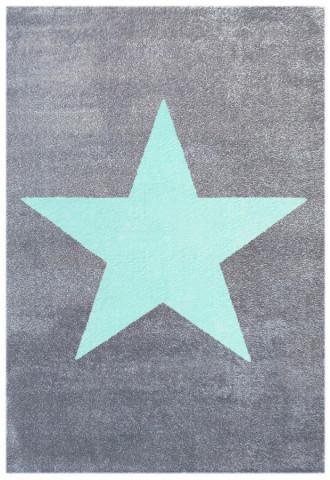 Dětský koberec STAR stříbrnošedý/ mátový